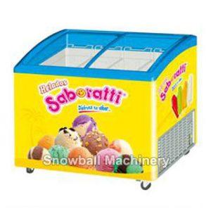 Mostrador de helado con puerta corrediza de vidrio curvado
