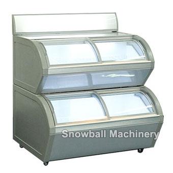 Comercial Mostradora de Helado con dos capas, Trapezoidal Congelador con Exhibición con Tablero Publicitario