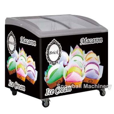 100L,250L,300L,350L Congelador de helado con puerta curvada