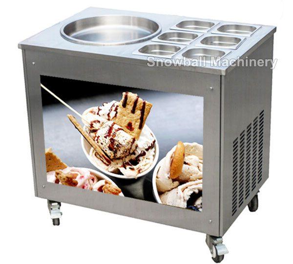 Máquina con contenedor para helado a la plancha